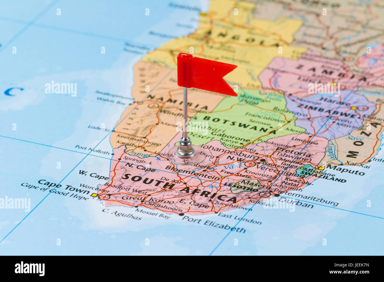Photo Of South Africa Marked By Red Flag In Holder. Country On African  Continent.