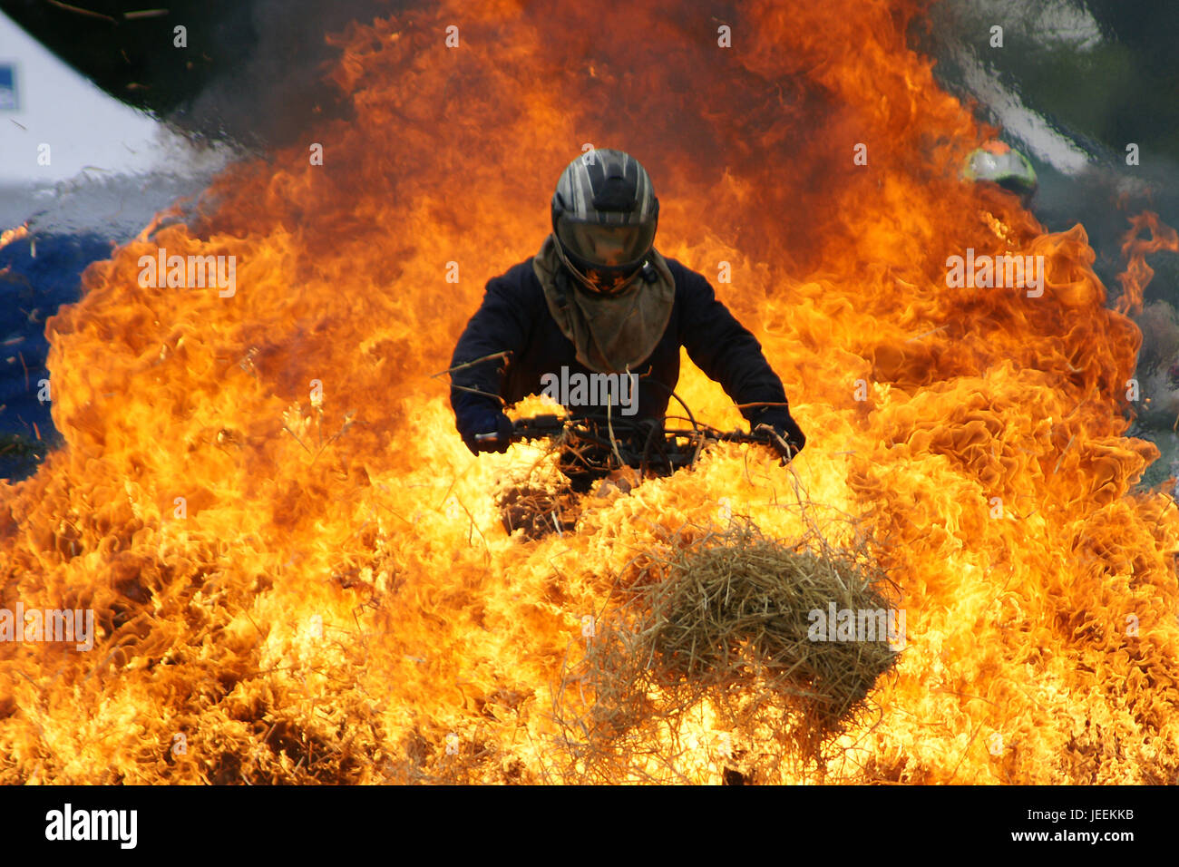 motorbike stunt driver Stock Photo