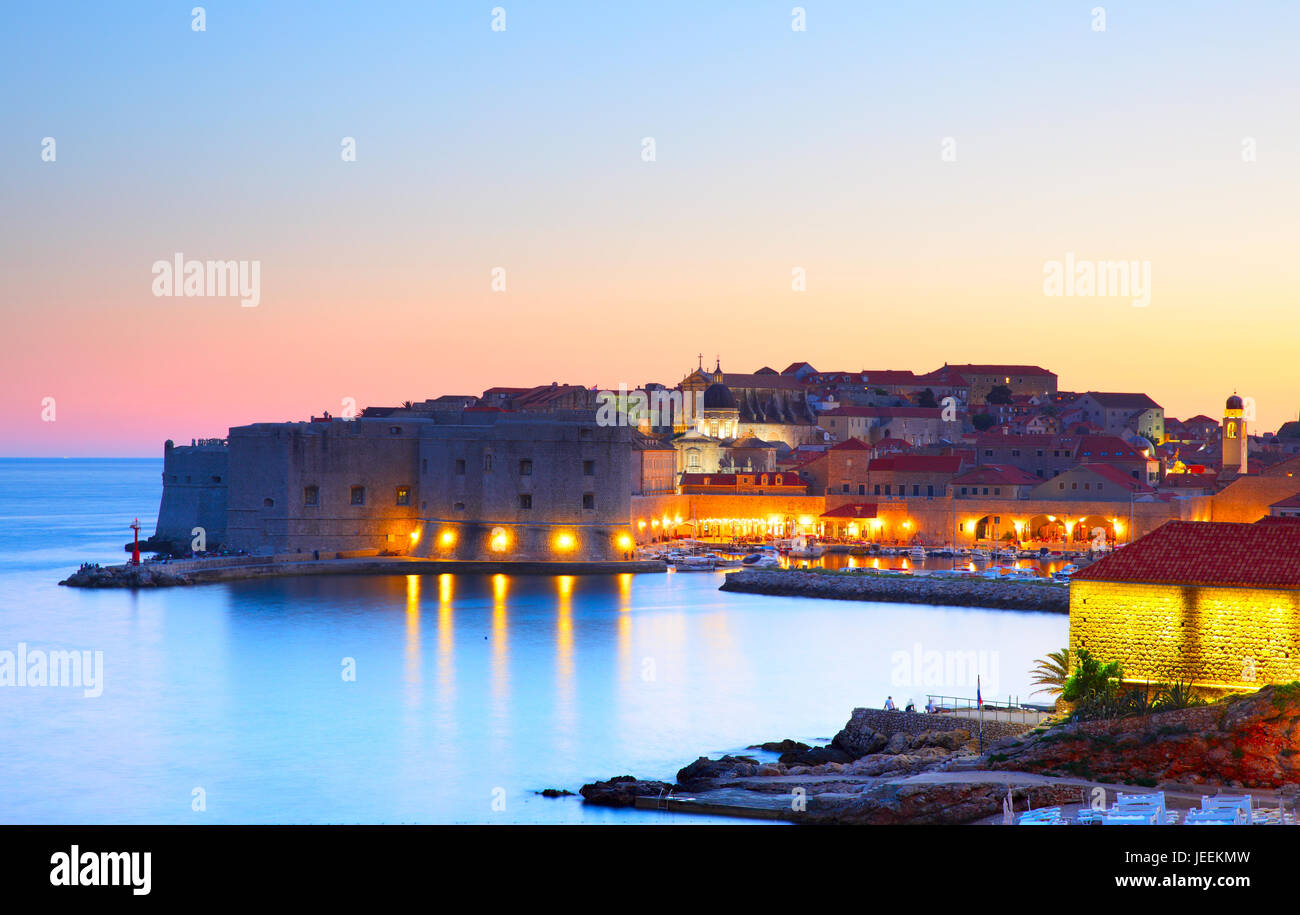 Old town of Dubrovnik at sundown, Croatia Stock Photo