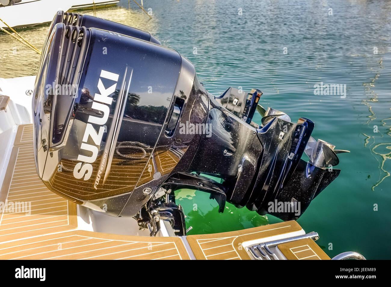Twin Suzuki outboard motors - Stock Image