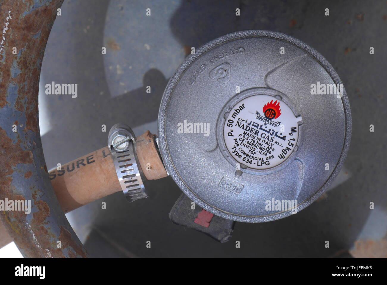 Domestic gas bottle regulator - Stock Image