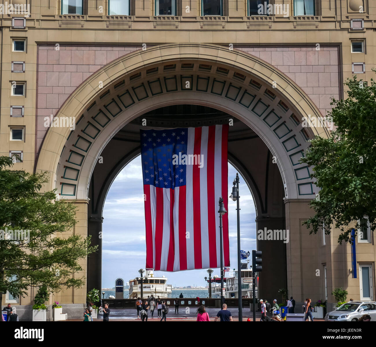Large Usa Flag Hanging In Arch Boston Harbor Hotel Rowes Wharf Stock Photo Alamy
