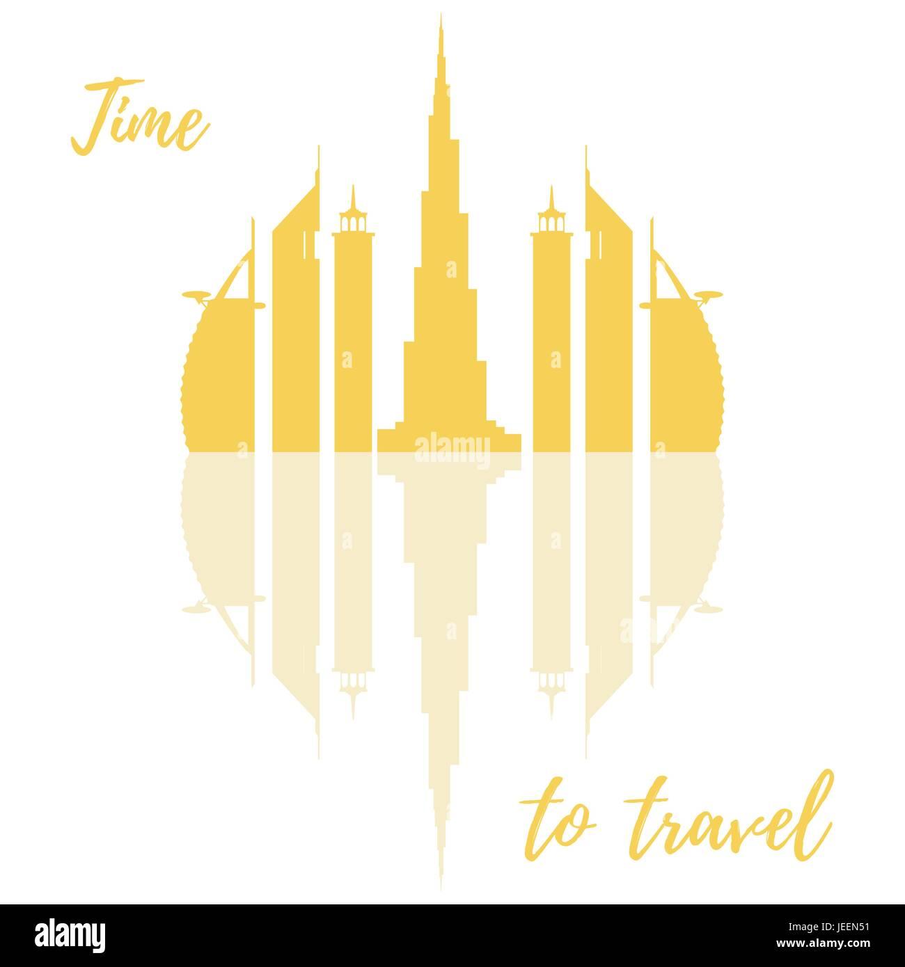 Vector illustration of United Arab Emirates skyscrapers silhouette. Dubai buildings. Design for banner, poster or - Stock Image