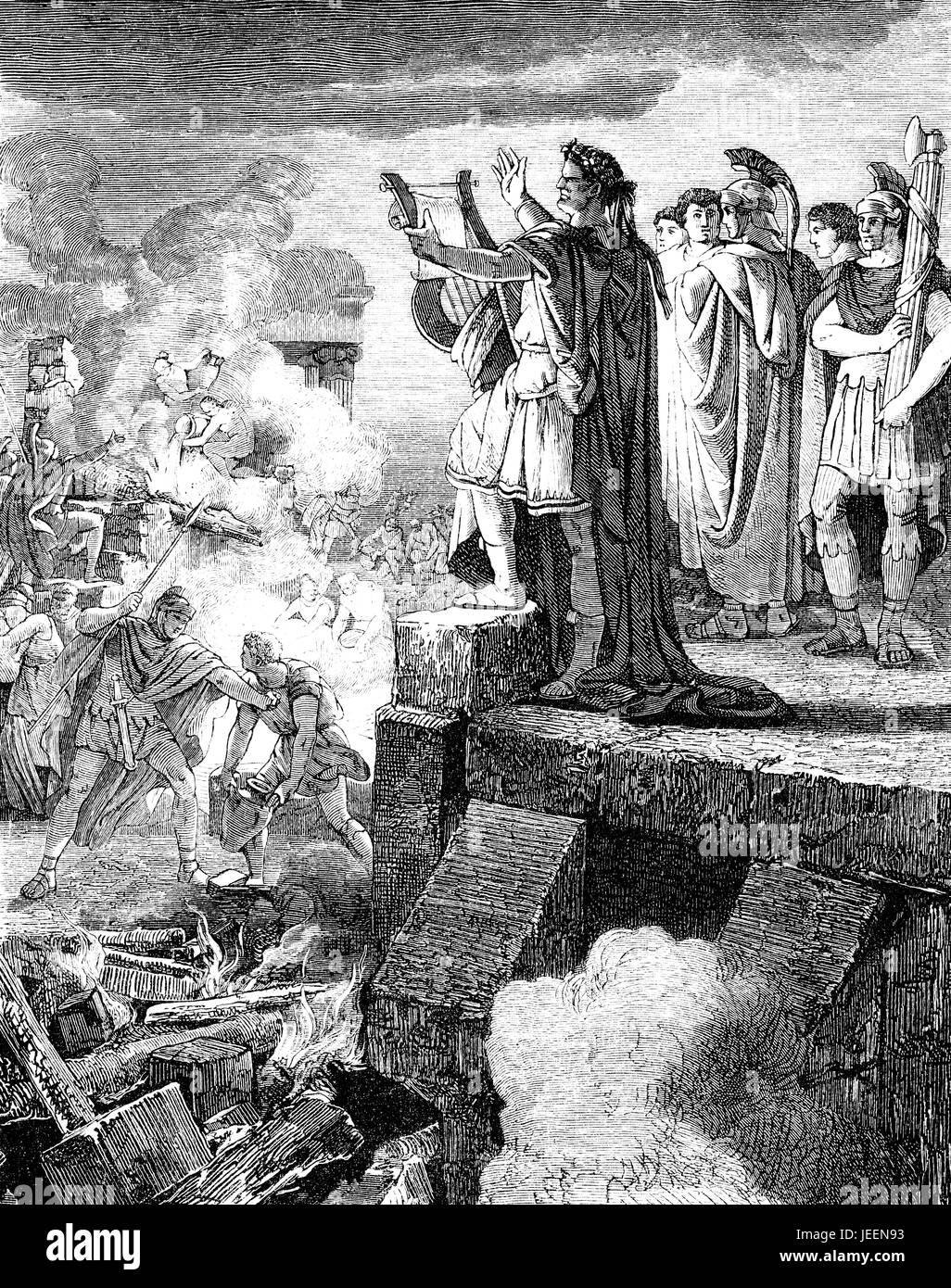 Roman Emperor Nero Claudius Caesar and the Great Fire of Rome, 64 AD - Stock Image