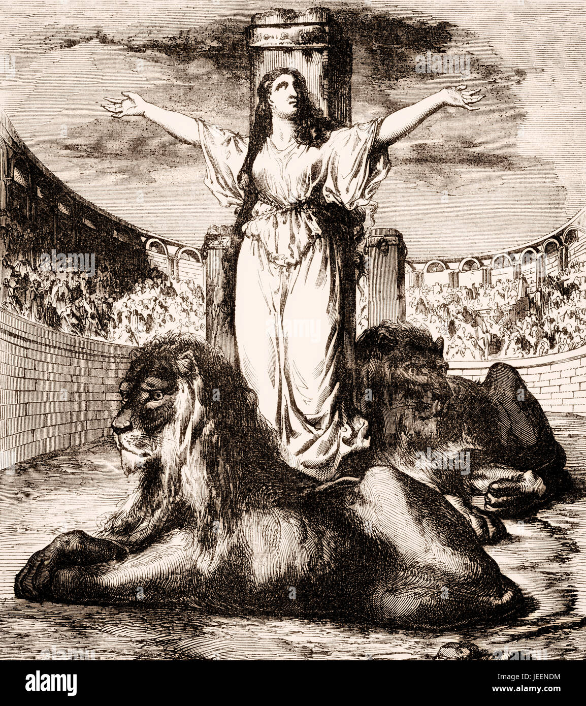 Saint Blandina or Blandine in the arena with lions, died 177 AD, a Christian martyr during the reign of Emperor - Stock Image
