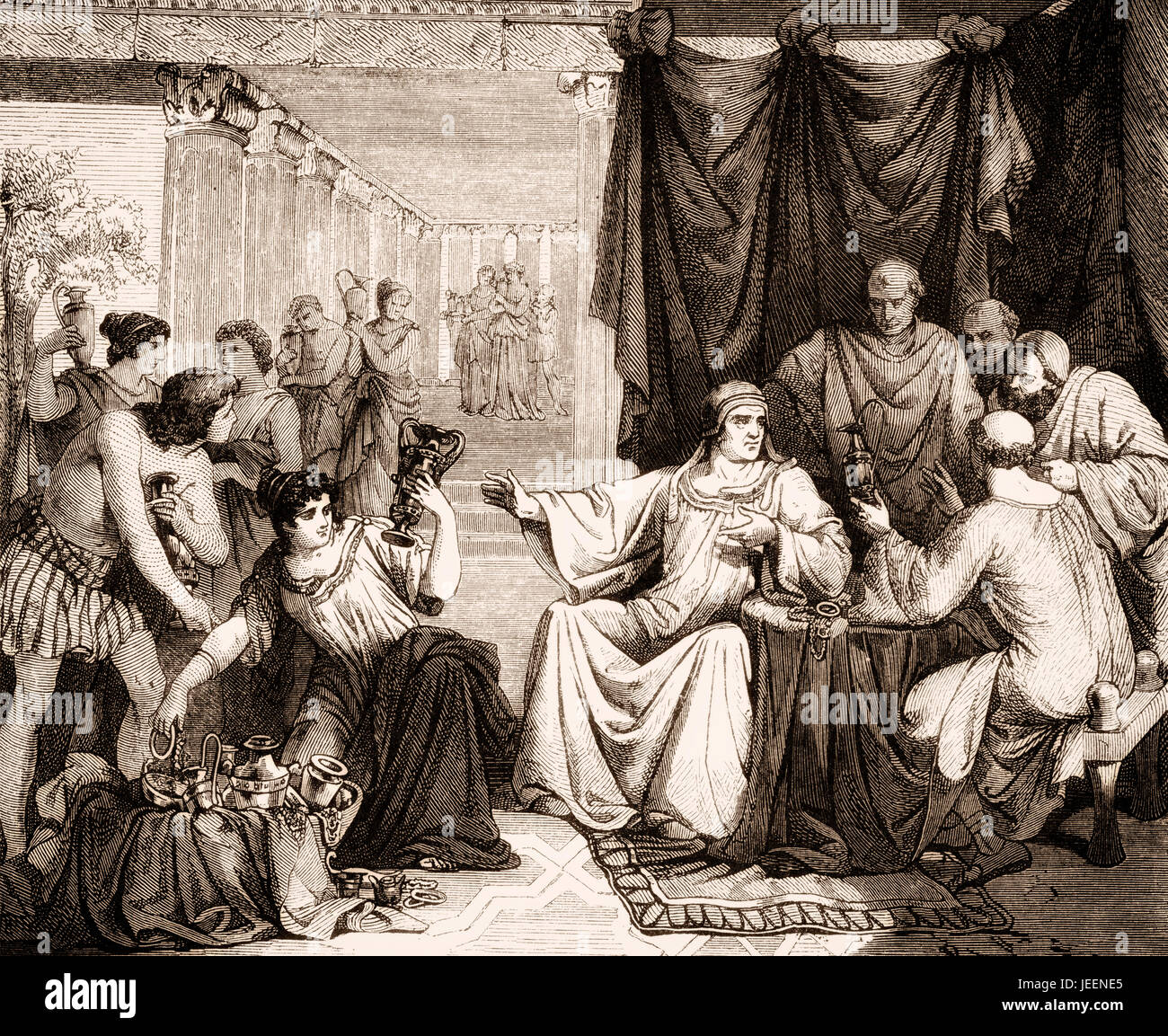 Alaric I forced the Roman Senate to pay a large subsidy to the Visigoths, sack of Rome in 410 - Stock Image
