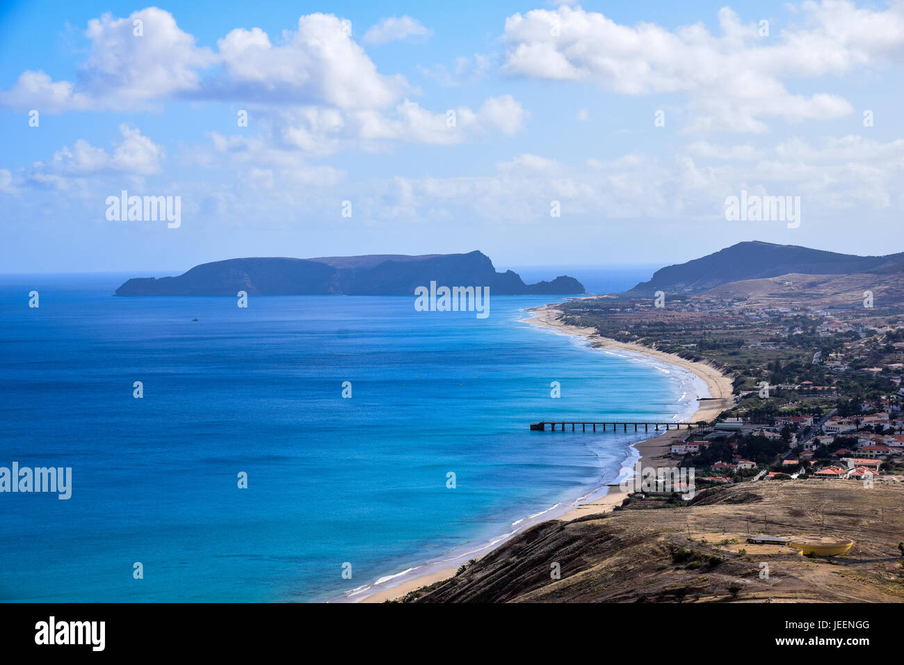 Scenic view of Vila Baleira beach in Porto Santo north of Madeira Portugal - Stock Image
