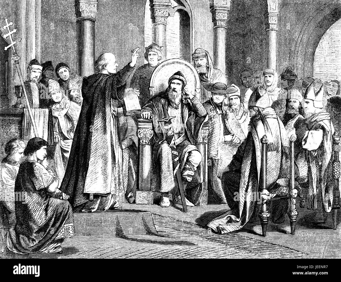 Charlemagne and the oath of purgation of Pope Saint Leo III,  accused of adultery and perjury, Rome, on 23 December - Stock Image