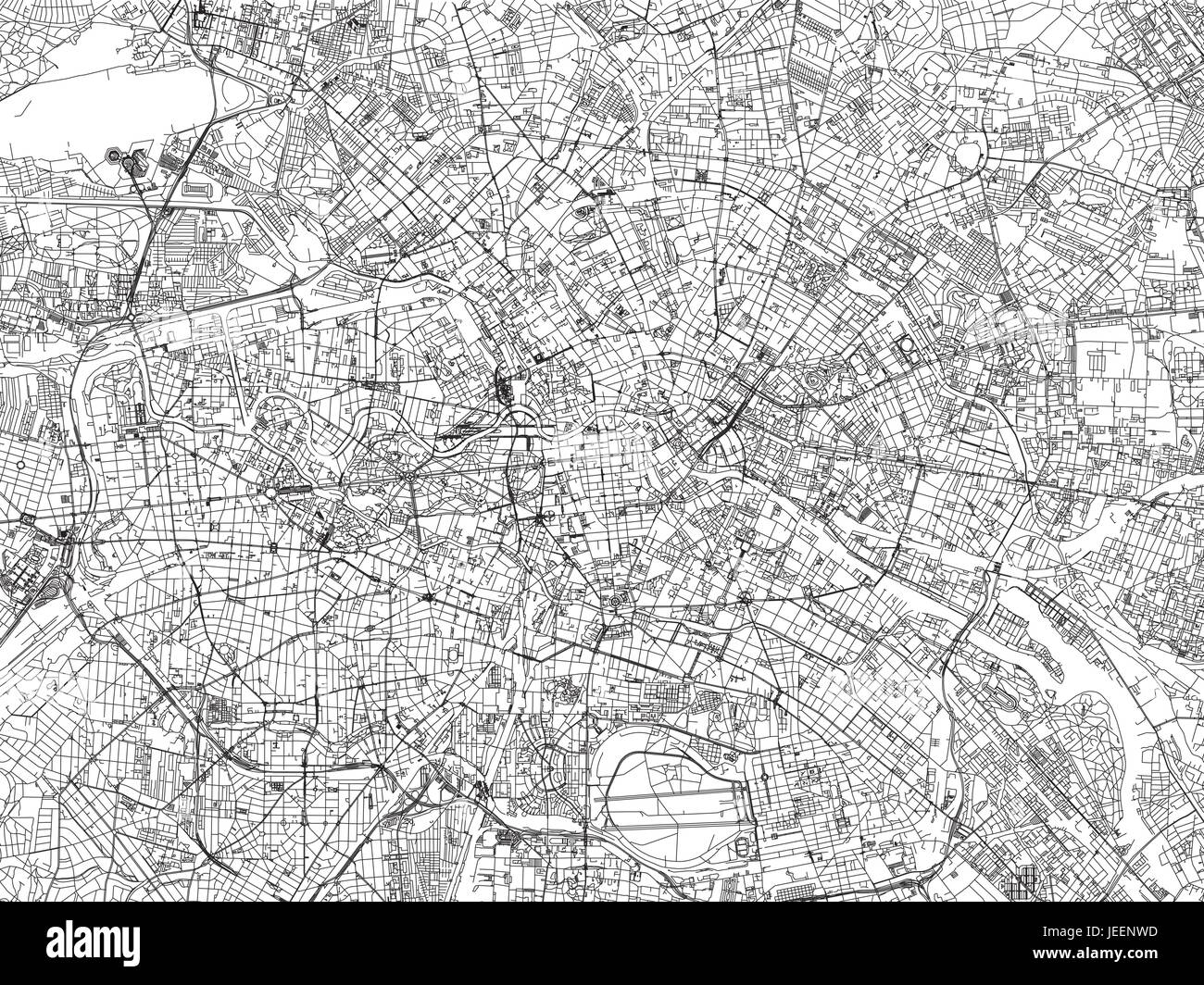 Berlin map satellite view Germany Stock Vector Art Illustration