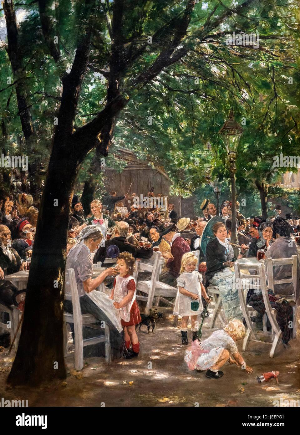 Munich Beer Garden (Münchner Biergarten) by Max Liebermann (1847-1935), 1884 - Stock Image