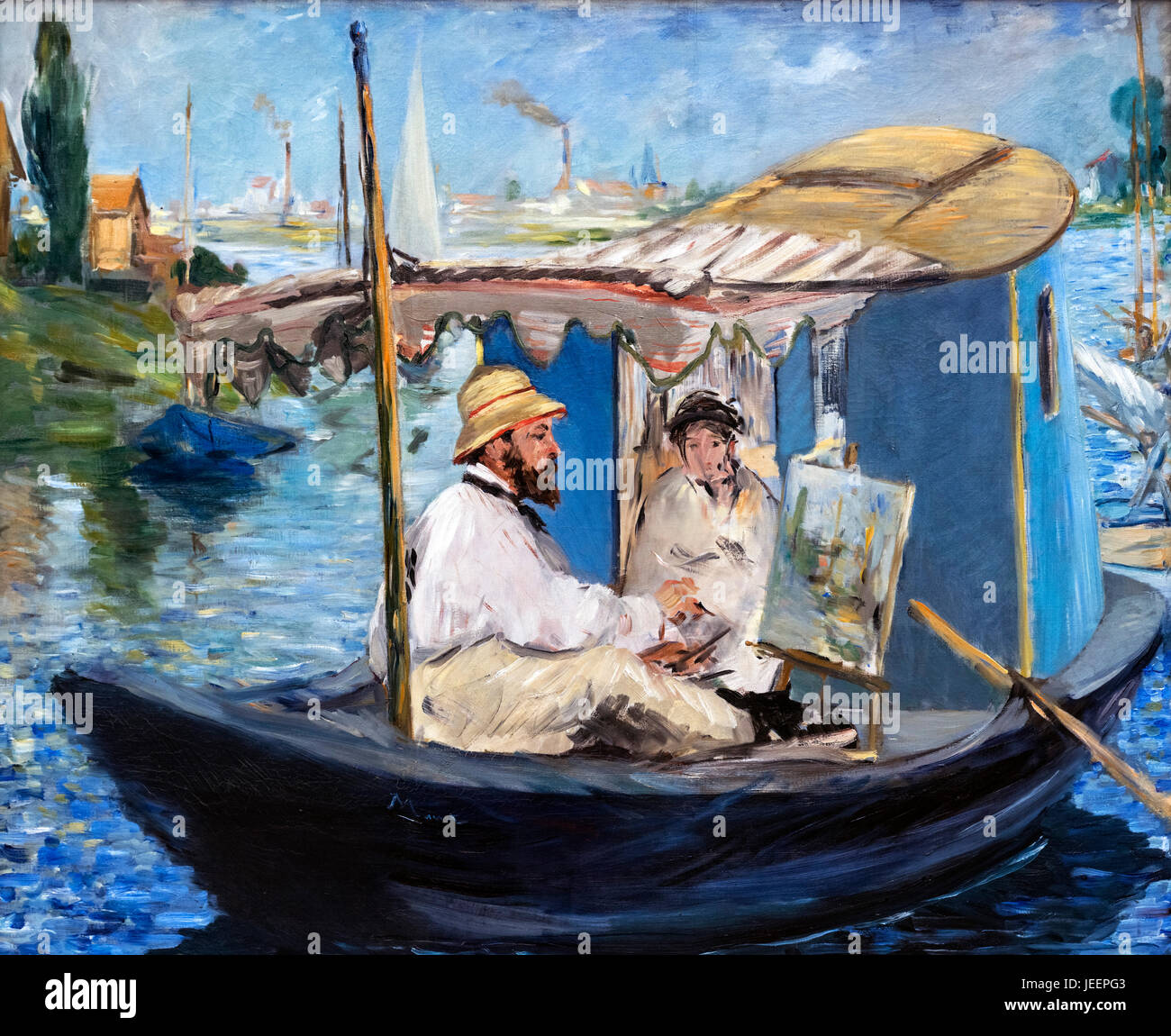 Monet Painting on his Studio Boat by Edouard Manet (1832-1883). Portrait of the French impressionist Claude Monet - Stock Image