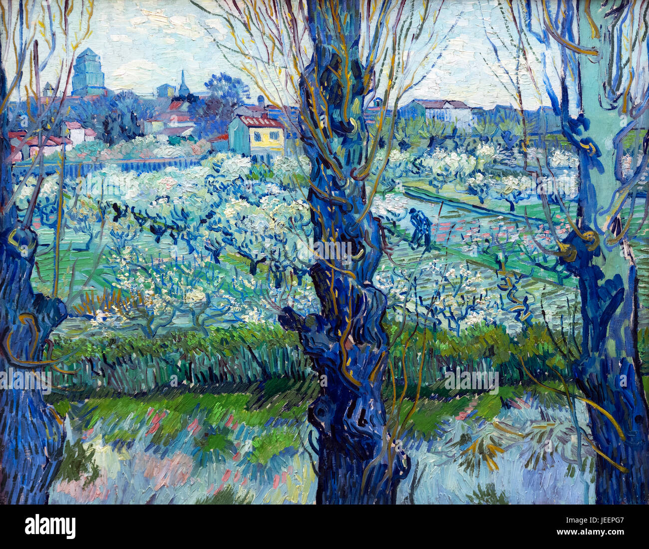View of Arles (Vue d'Arles) by Vincent van Gogh (1853-1890), oil on canvas, 1889 - Stock Image