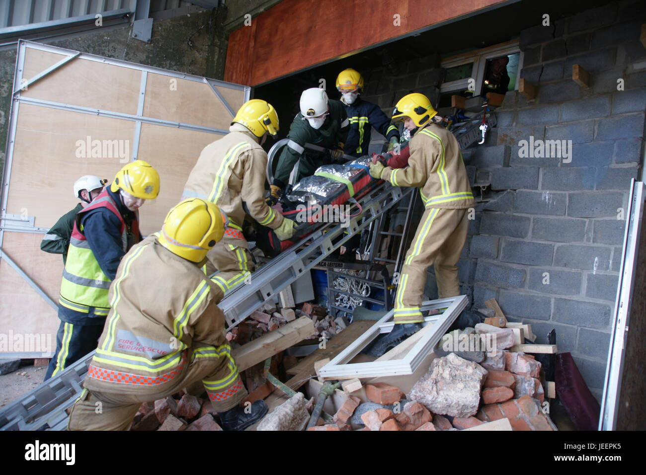 car bomb explosion, disaster zone. building collapse - Stock Image