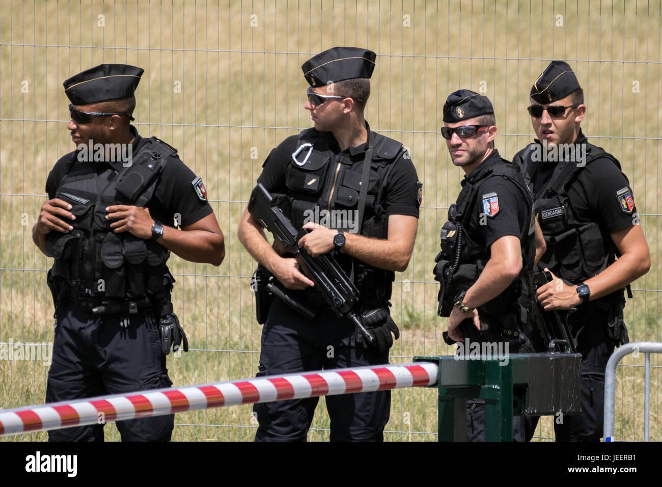 PARIS, FRANCE - JUN 23, 2017: Armed National Gendarmerie on guard at the Paris Air Show - Stock Image
