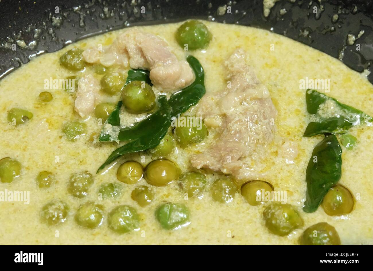 Thai Spicy Green Curry With Green Eggplant Chicken And