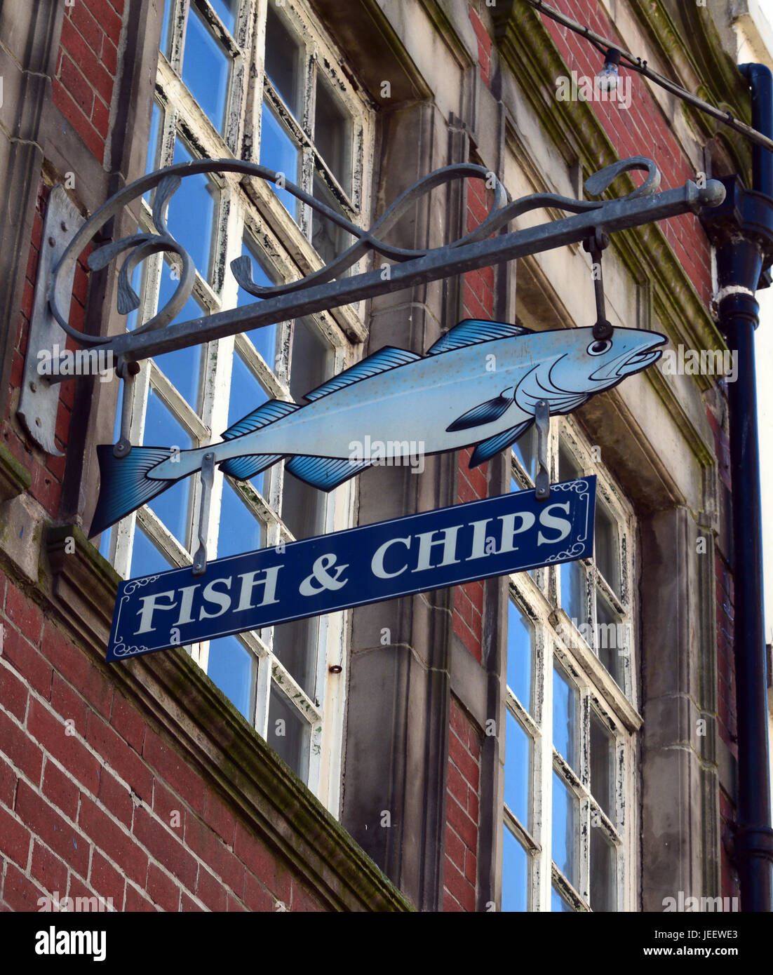 PICTORIAL BRITISH FISH AND CHIP SIGN _WHITBY, YORKSHIRE - Stock Image