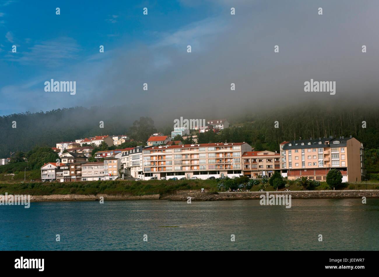 Fog in the estuary, Cee - Corcubion, La Coruna province, Region of Galicia, Spain, Europe - Stock Image