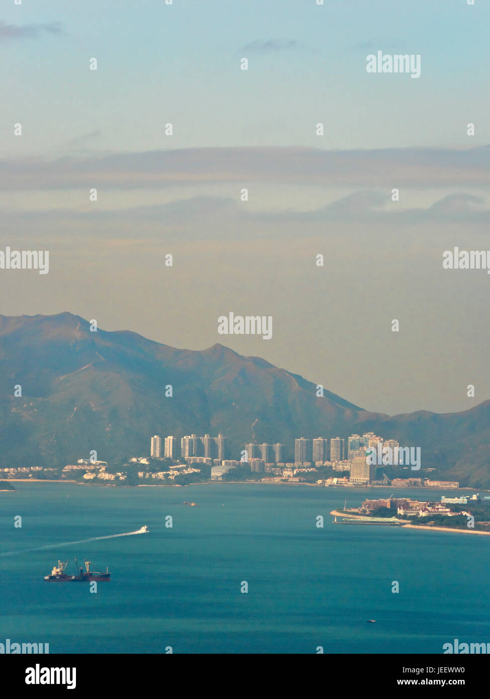 Vertical aerial landscape of Discovery Bay on Lantau Island in Hong Kong, China. - Stock Image