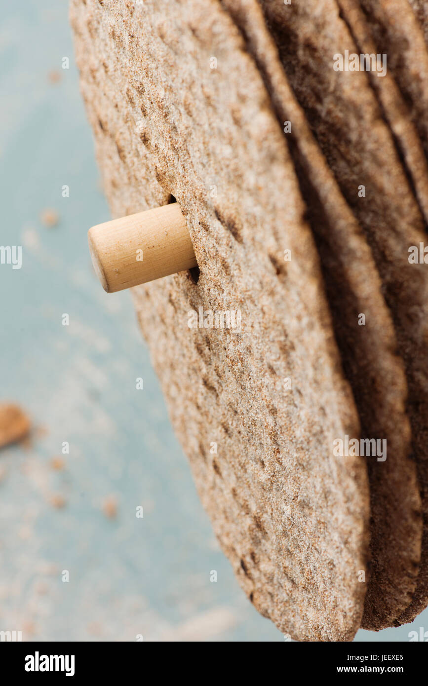 Swedish round crisp bread in close up. Scandinavian food detail. - Stock Image