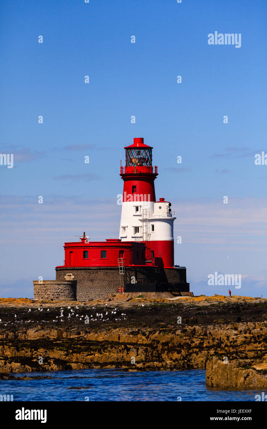 Longstone Lighthouse.  Longstone lighthouse is situated on the Outer Farne Islands on the Northumberland Coast in Stock Photo