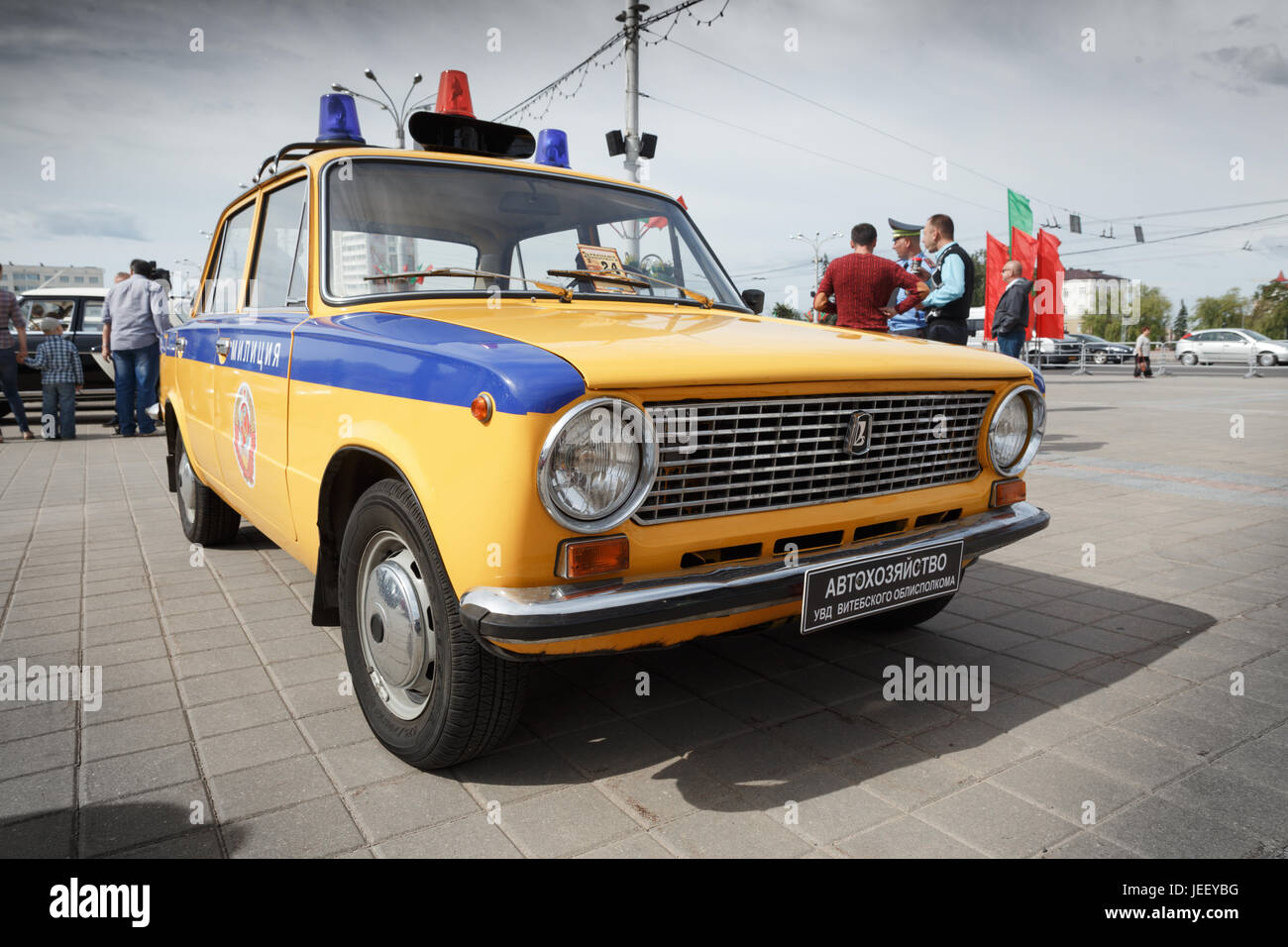 Vintage police car VAZ 2111 at exibition of vintage cars. Summer. Belarus.  Vitebsk. 2017.