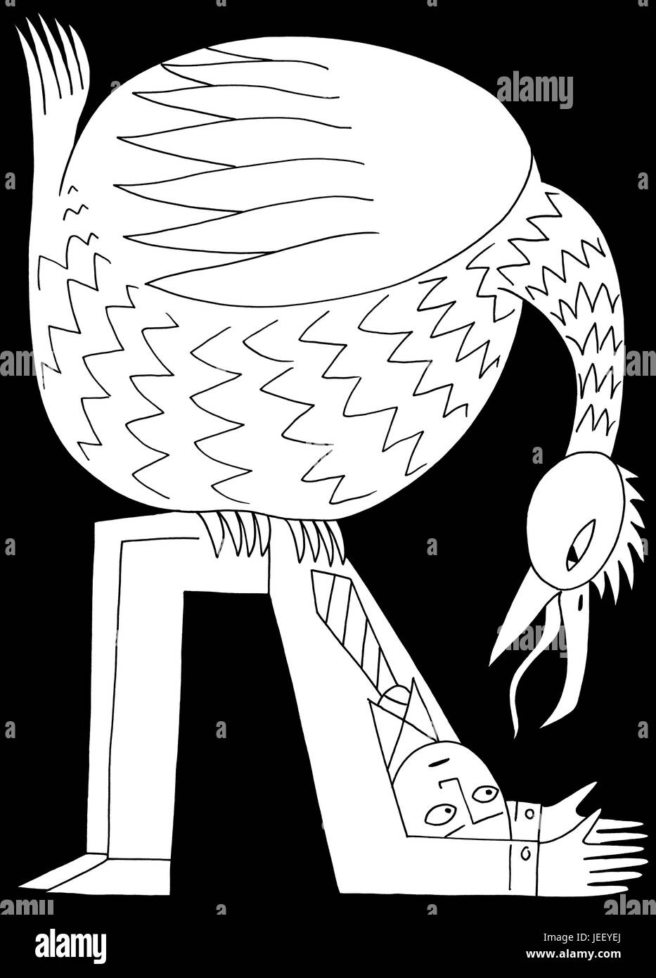 A good perch for some. A black and white editorial illustration.Stock Photo