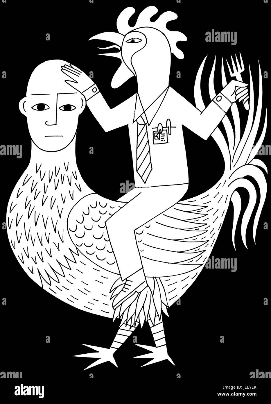 My chicken. A black and white editorial illustration. - Stock Image