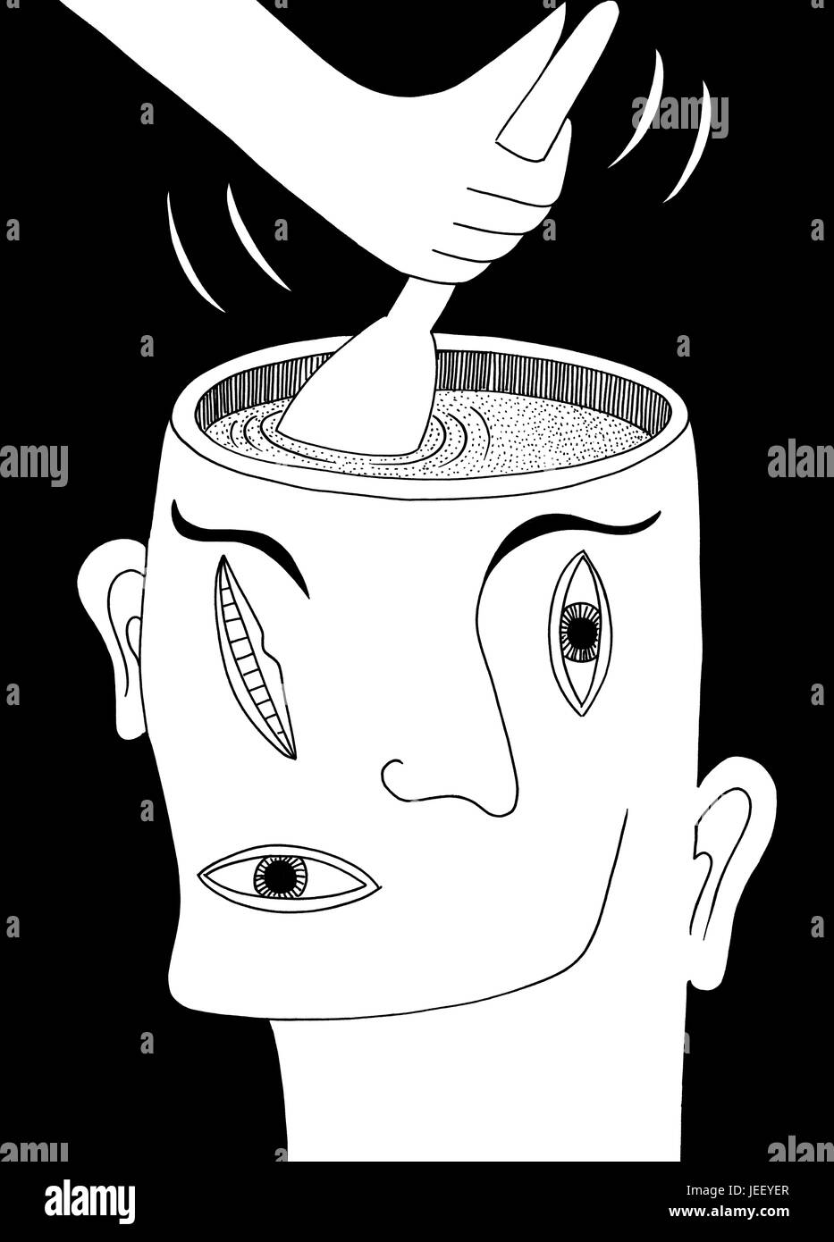 Something is stirring. A black and white editorial illustration.Stock Photo