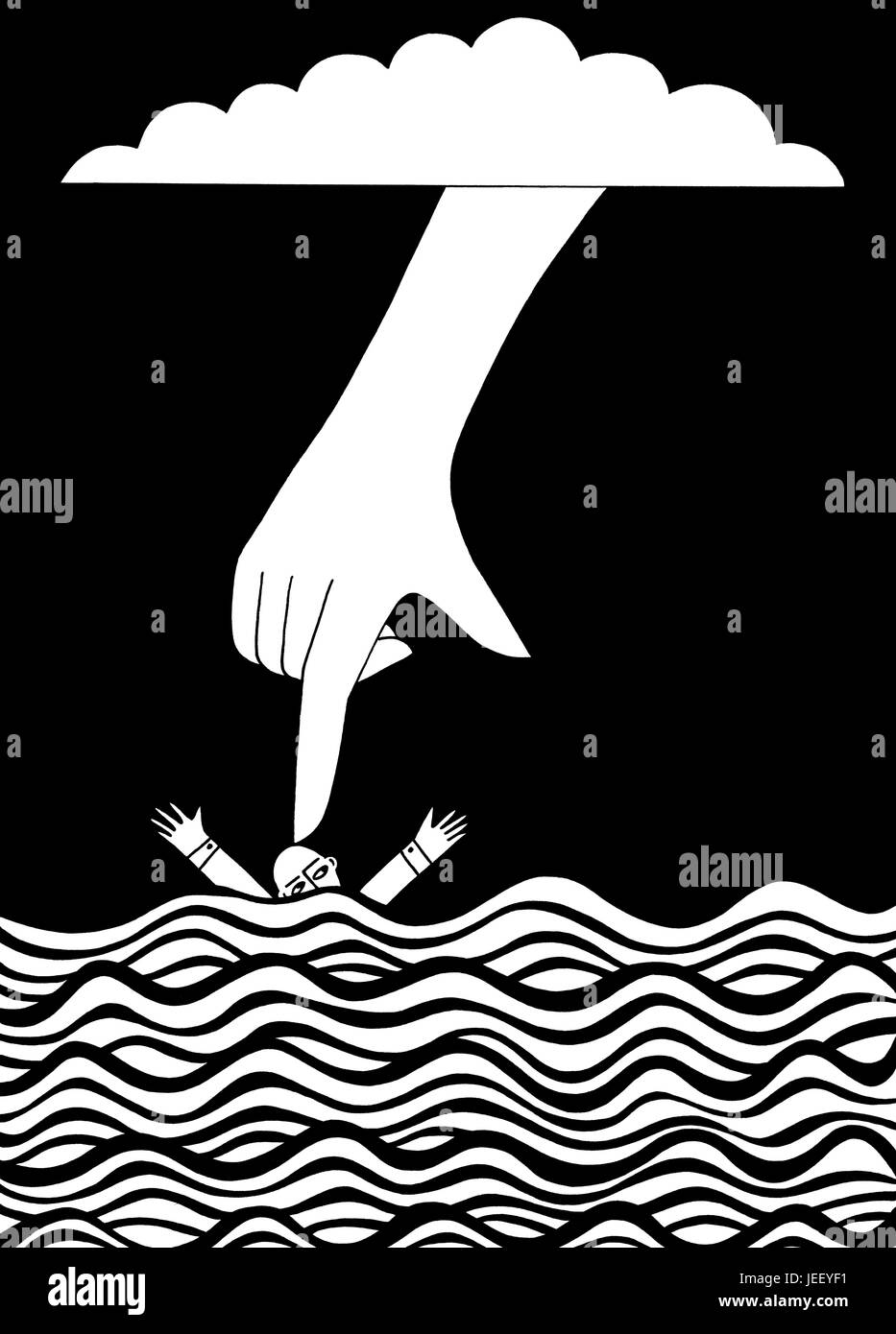 Sink or sink. A black and white editorial illustration.Stock Photo