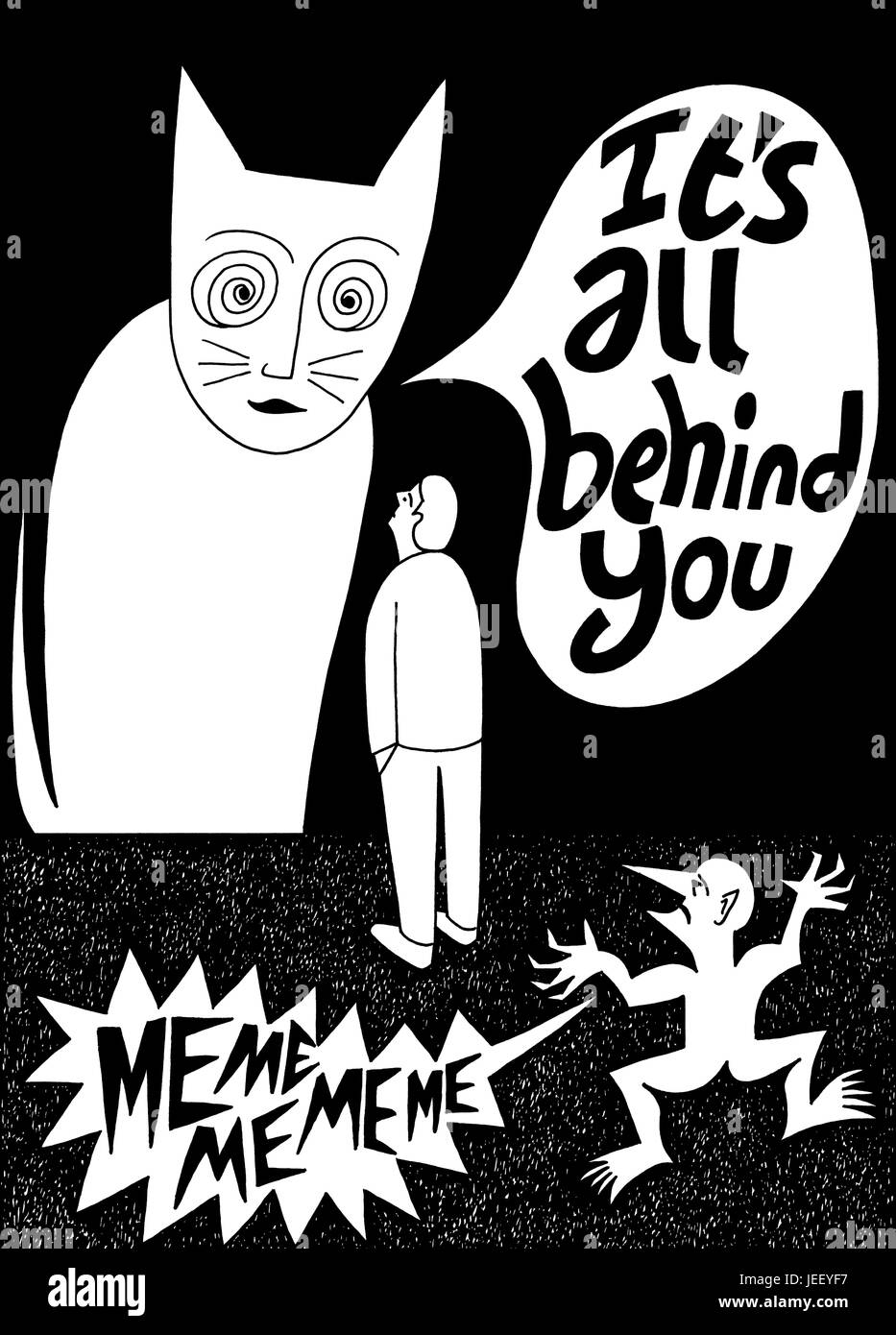 It's all behind you. A black and white editorial illustration. - Stock Image