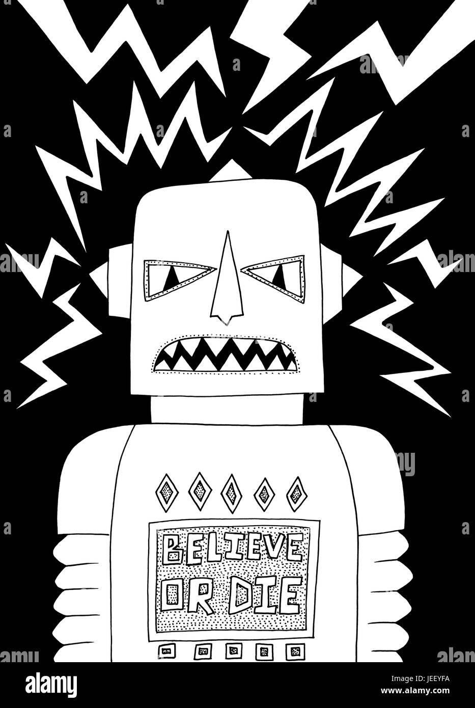Believe. A black and white editorial illustration.Stock Photo