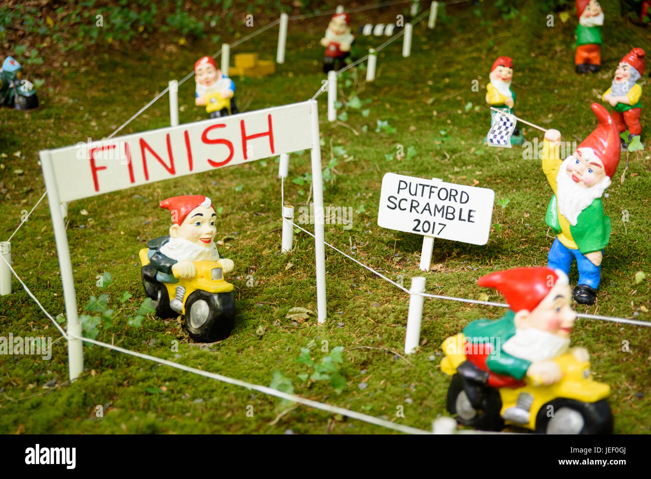 The finish line of a gnome motorcycle race - Stock Image