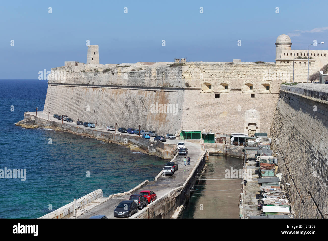 View of St. Gregory Bastion, Lower Fort St. Elmo, Valletta, Malta - Stock Image
