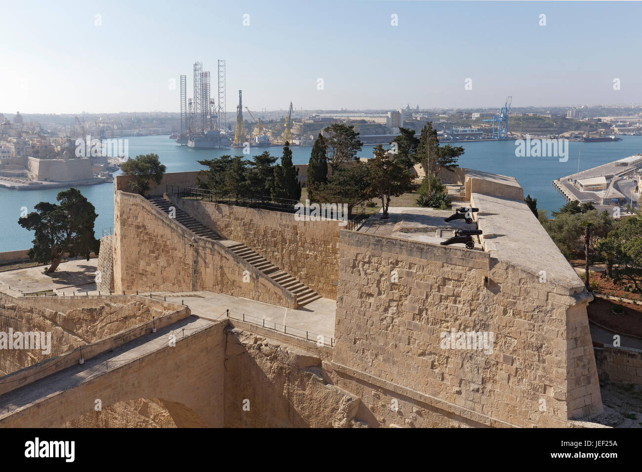 View of St. Peter Bastion and Grand Harbor, Valletta, Malta - Stock Image