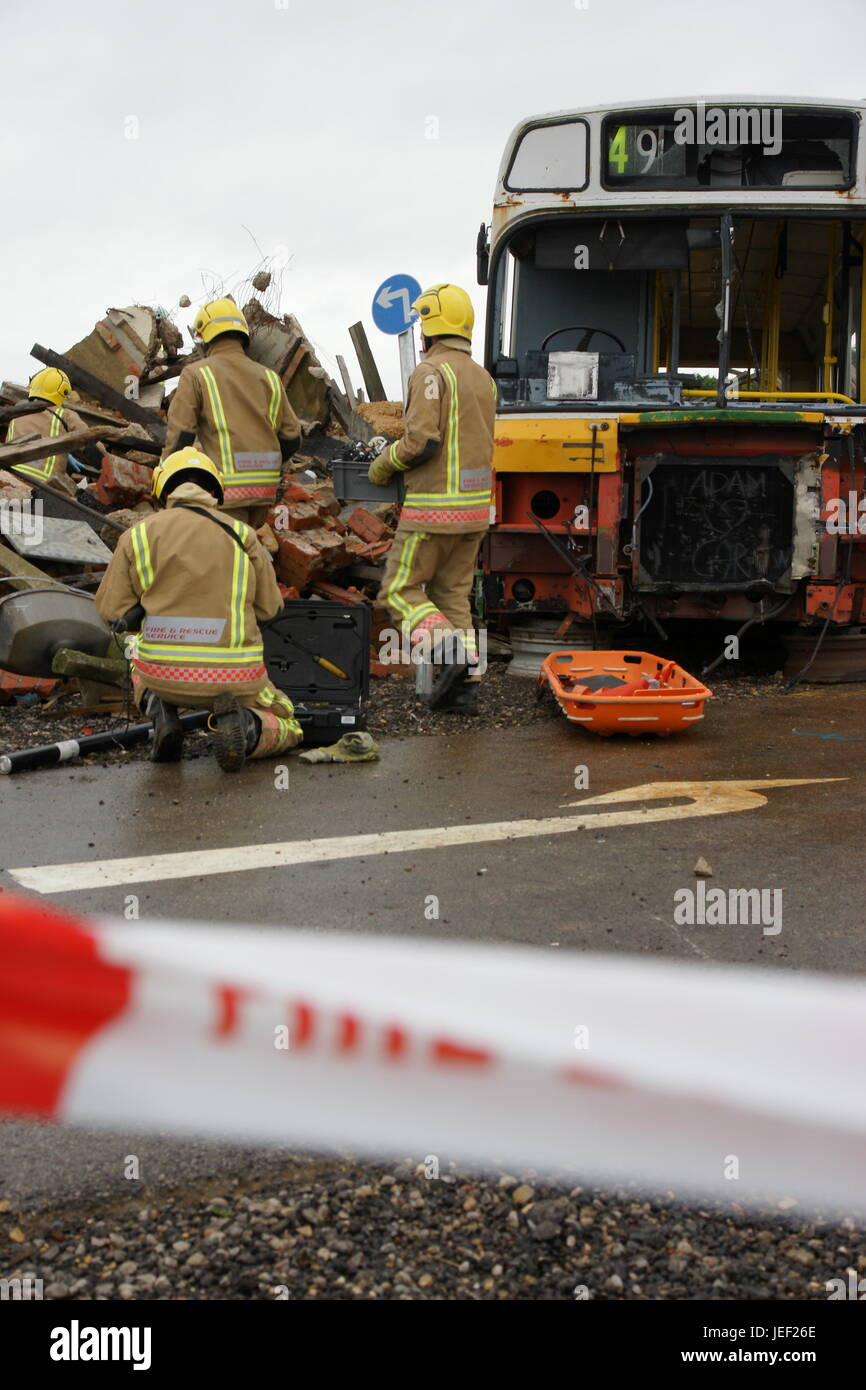 terrorist attack in city, damage and destruction - Stock Image