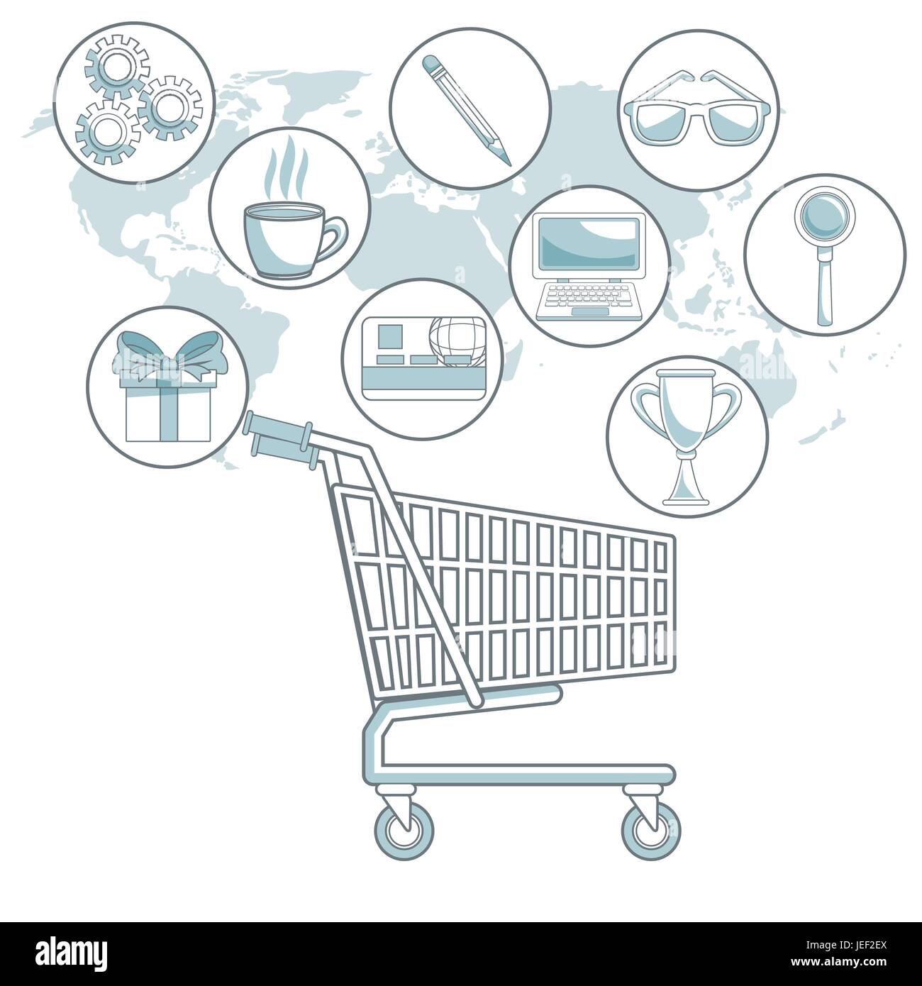 white background map world with color sections of shopping ... on