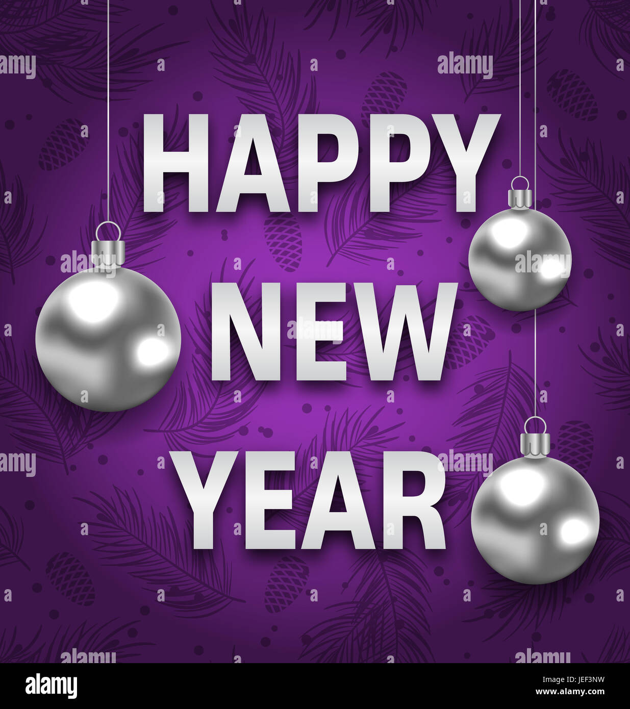 illustration happy new year card with silver balls on purple background greeting postcard for winter holidays