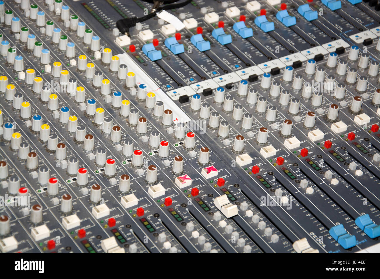 Recording studio, mixing writing desk, close-up,, Tonstudio, Mischpult, Nahaufnahme, Stock Photo