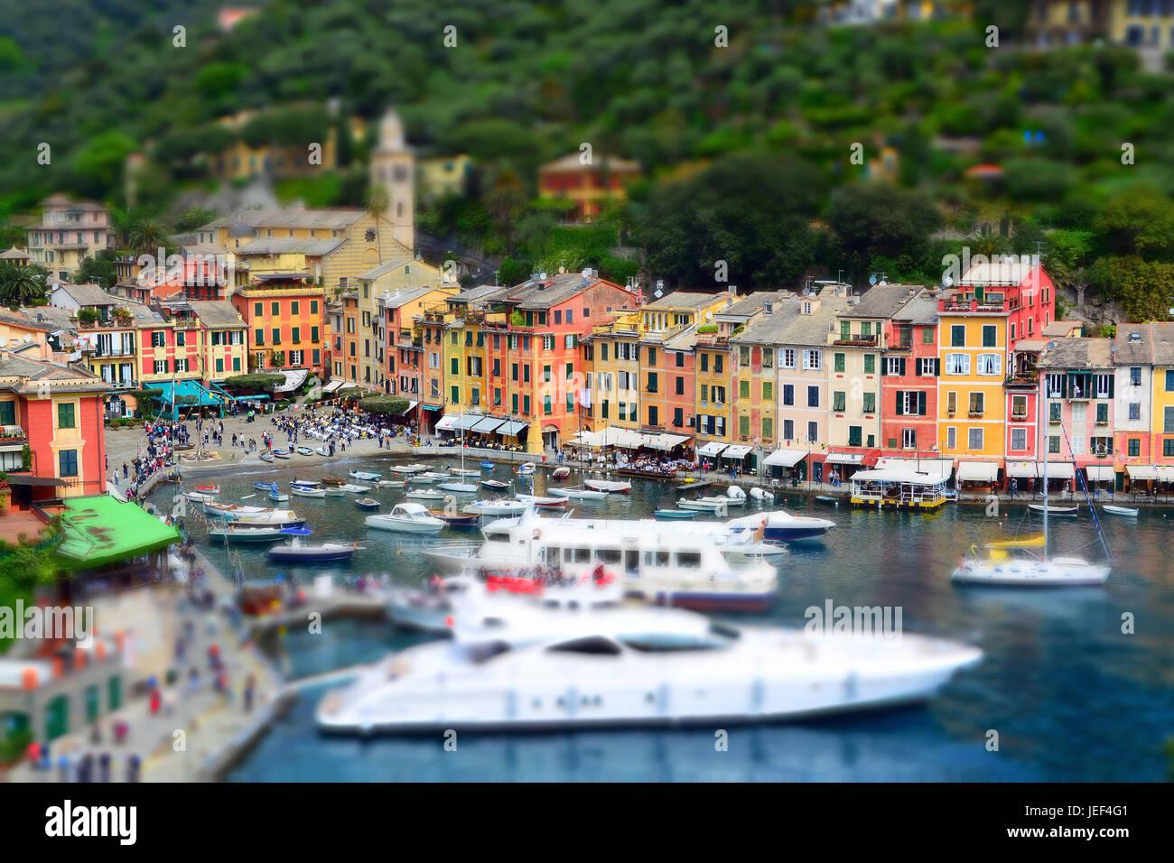 Portofino, a pretty town on the coast of the Mediterranean Sea, in Liguria, Italy., eine hübsche Stadt an der - Stock Image