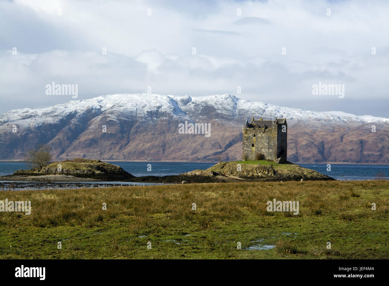 Castle Stalker in port Appin, Scotland, accepted in the Fabruar., Castle Stalker in Port Appin, Schottland, aufgenommen - Stock Image