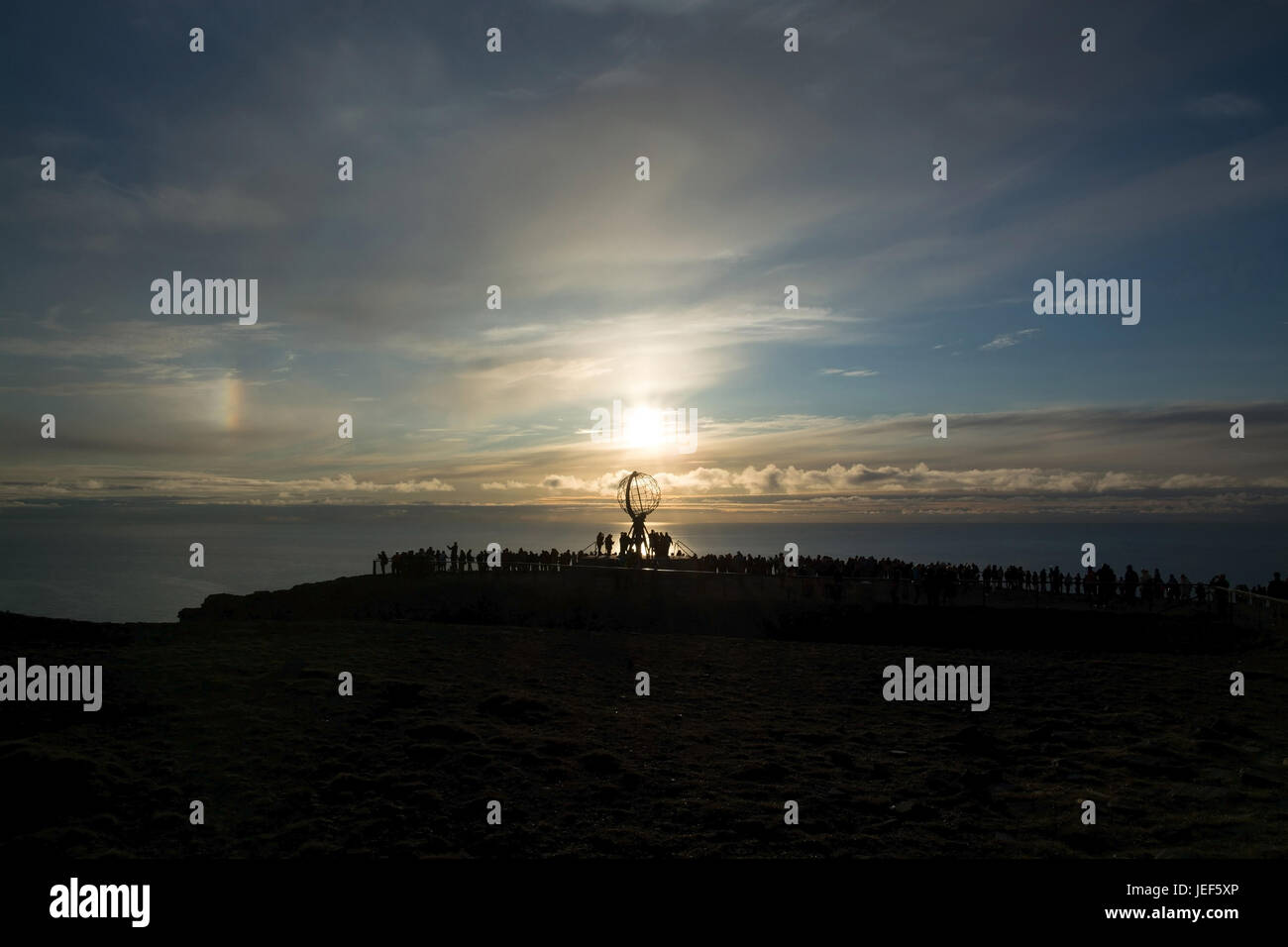 In Norway on the island Mager? ? ya, at a north point, lies the Nordkapp, a slate plateau precipitously towering - Stock Image
