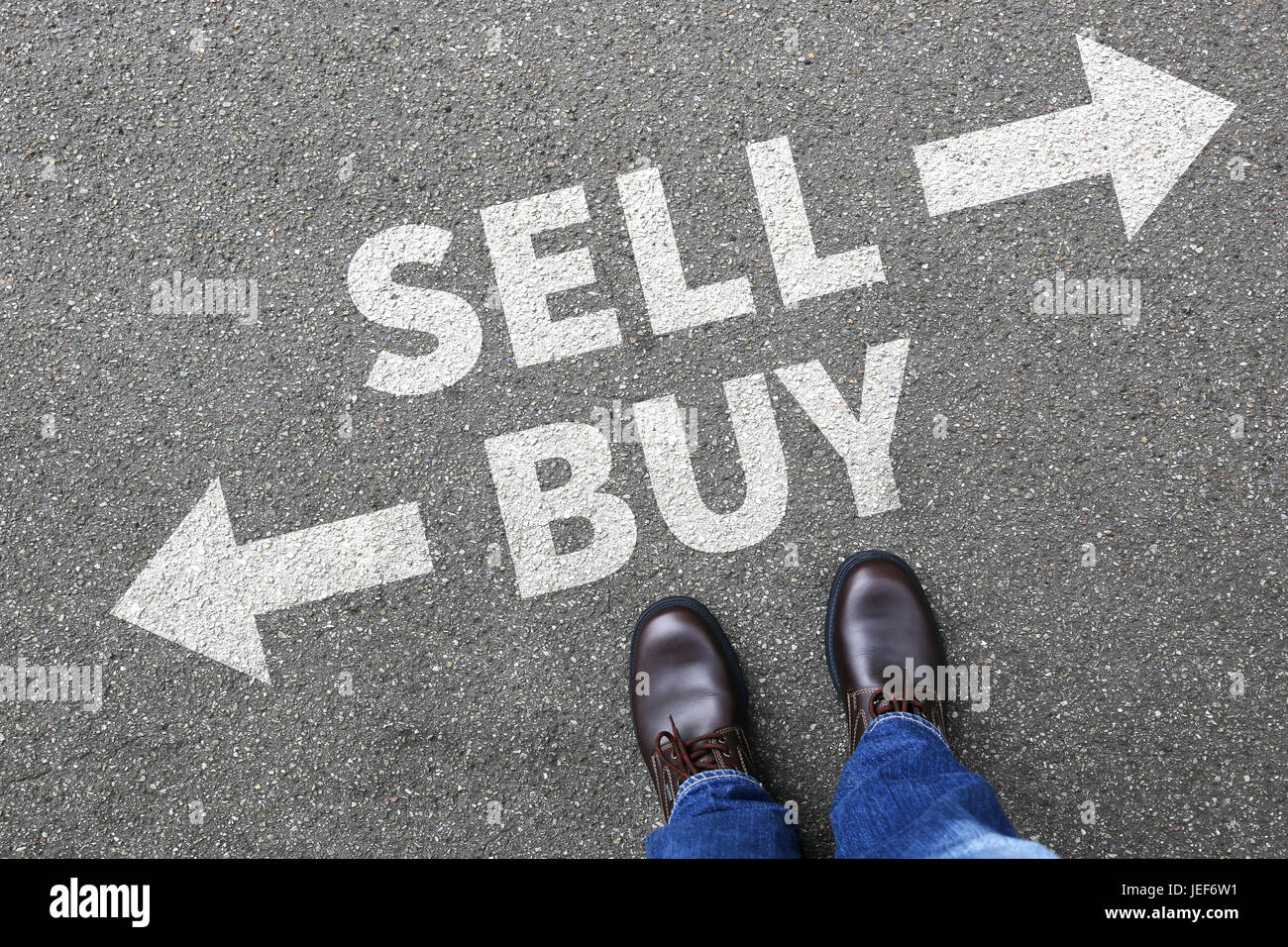 Sell buy selling buying goods trading stock exchange banking business concept import - Stock Image