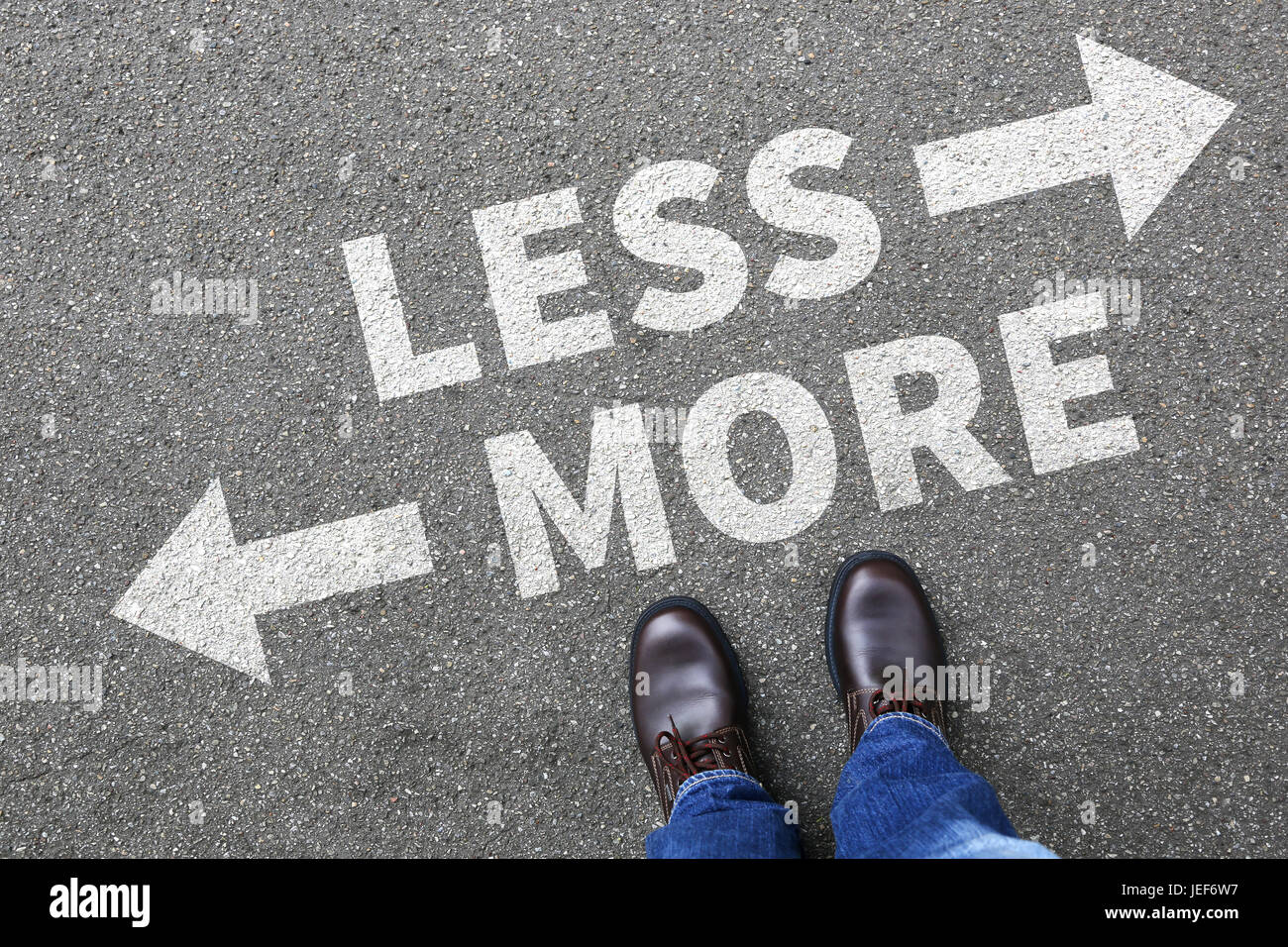 Less is more business concept decision minimalist surrender better life success - Stock Image