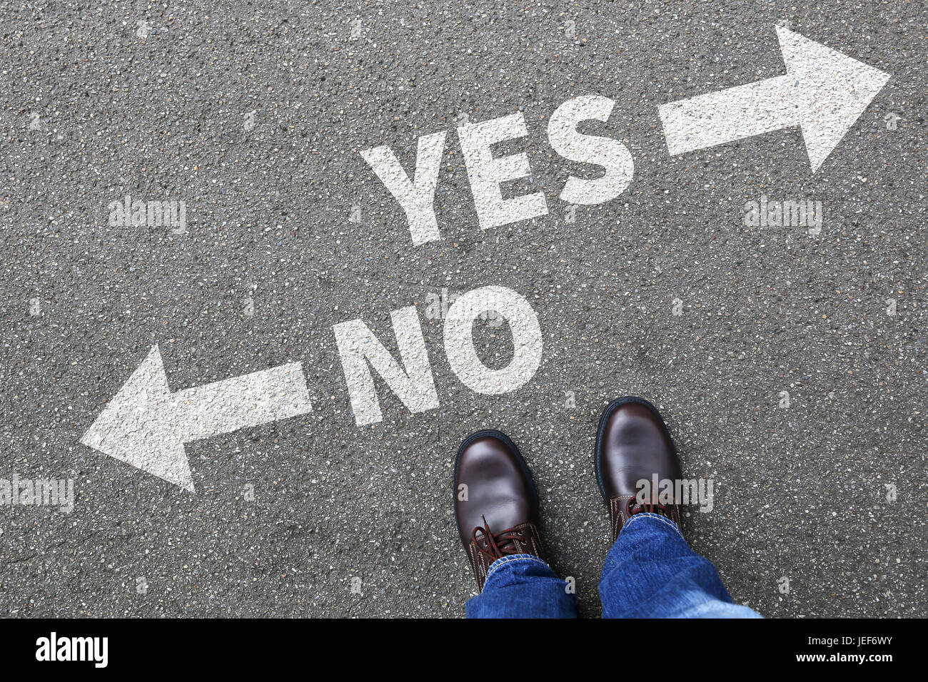 Yes no right wrong answer business concept indecisive solution decision decide choice - Stock Image