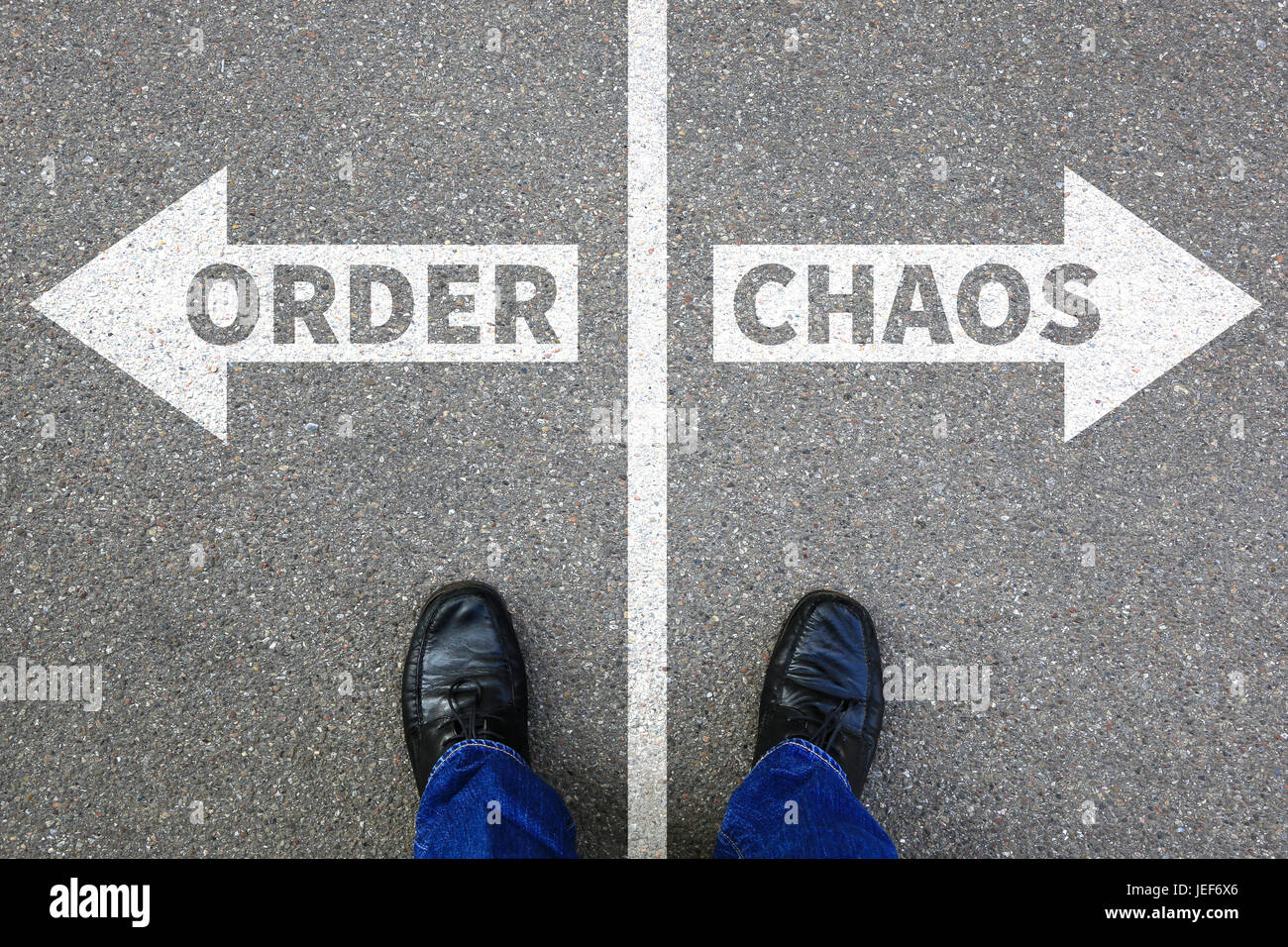 Chaos and order organisation office businessman business concept success successful - Stock Image