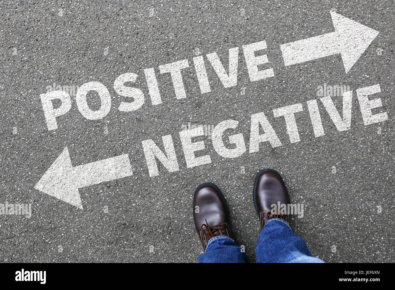 Negative positive thinking good bad thoughts attitude business concept decision decide choice - Stock Image