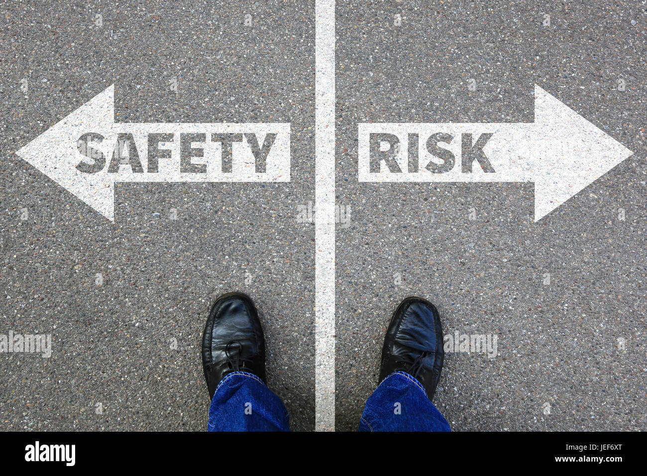 Risk and safety management assessment analysis company business concept businessman reward - Stock Image