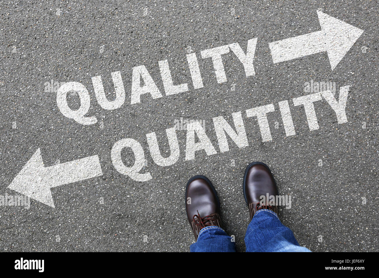 Quality quantity success choice choose business concept businessman decision - Stock Image