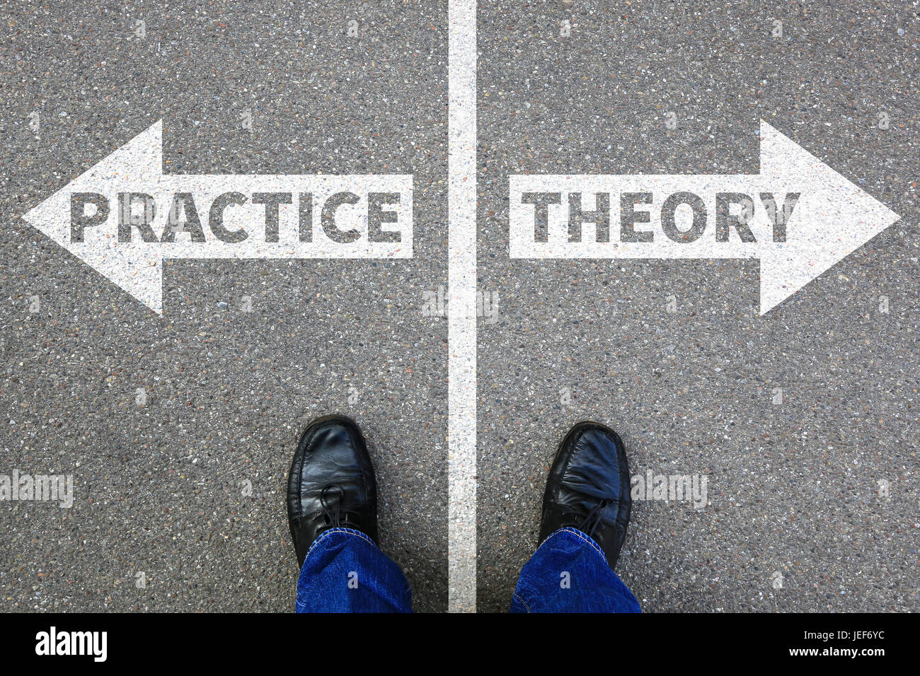 Theory and practice education profession learning success business concept successful - Stock Image