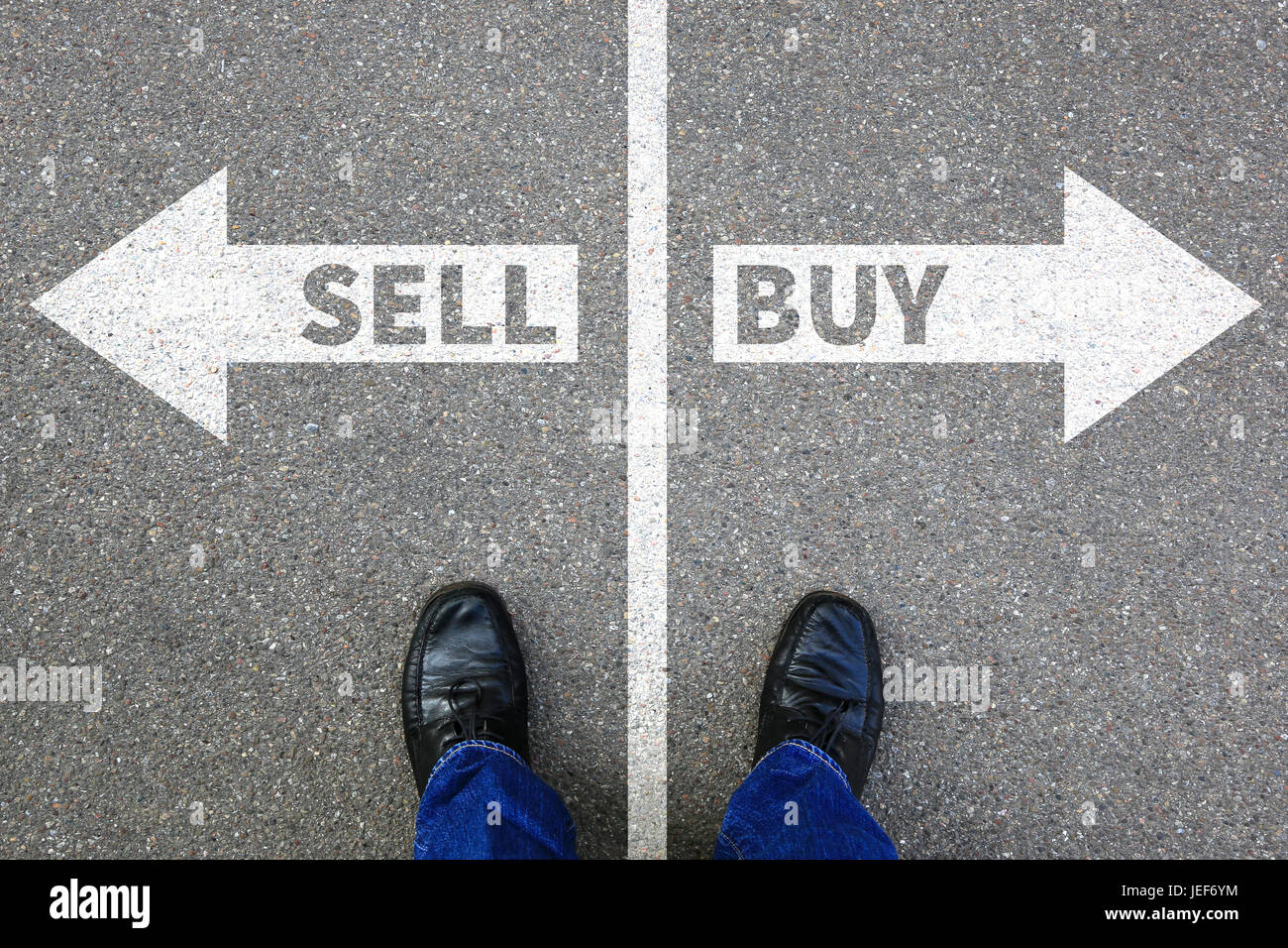 Sell buy selling buying goods stock exchange banking business concept import - Stock Image
